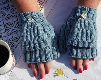 100% Extra fine merino wool hand knitted  fingerless mittens with flaps