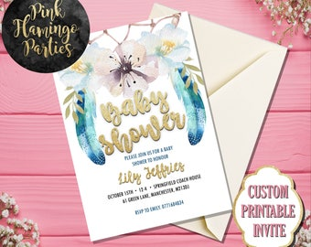 Coachella Baby Shower Invitation, Dreamcatcher Baby Shower Invitation,Dream Catcher, Gender Revealing, Teal, Mint, Pink and Blue