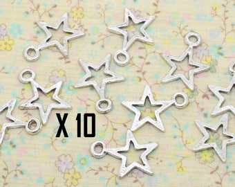 10 x 15mm silver plated hollow star charm