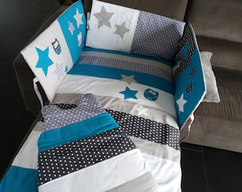 ORDER 10 days-baby blue duvet cover /DELAIS duck grey/clear/white starry dots