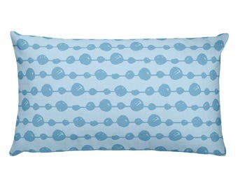 Blue Spotted -Rectangular Pillow