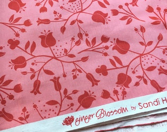 """Ginger Blossom by Sandi Henderson for Michael Miller. Blush pink bouquet toss. Remnant measures 13 x 45""""."""