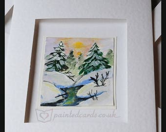 Hand Painted Greeting/Note Card/Christmas/