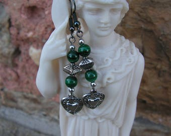 Malachite earrings hearts
