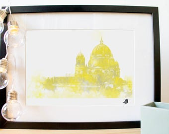 Berlin Cathedral Berliner Dom poster. Digital fashion watercolor painting. For gift giving, or for home decor!