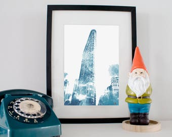 Print - map NYC Flatiron Building. Digital watercolor painting. For a gift or home decor! Watercolor poster