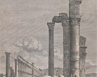 Granite Columns, Syria 1877 - Old Antique Vintage Engraving Art Print - Columns, Ornamental, Boulders, Ruins, Man, Grass