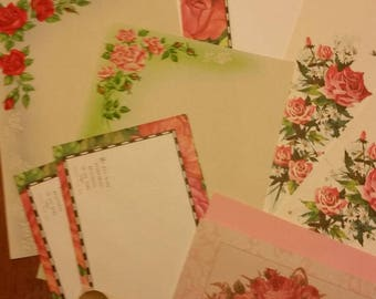 Vintage Stationery Collection ~ Red and Pink Roses