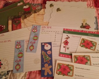 Vintage Recipe Cards Collection ~ Holiday Christmas Theme 15 Piece Set ~ Cooking Journals ~ Recipe Box - Cookie Exchange