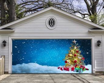 full color christmas tree double garage door cover christmas garage door murals holiday outdoor