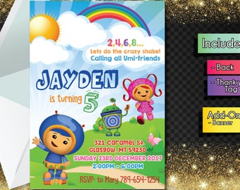 Team Umizoomi INVITATION with FREEEE Thank you card! Team Umizoomi Party Invitation, Birthday Banner