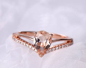 Pink Morganite Pear Shape Engagement Ring Rose Gold 925 Sterling Silver CZ Diamond Split Shank Wedding Band Eternity Bridal Set Promise
