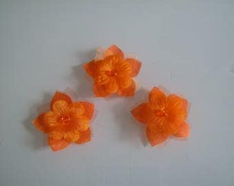 Set of 3 Orange flowers to sew/stick on dress with jewel bridal/wedding/party or decoration/decor/scrapbooking/creative (cheap)