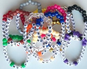 School Not Prison Bracelet, Bead Bracelet, Handmade, Activist Support, Prison Reform