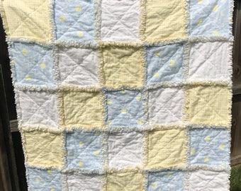 Baby Rag Quilt, Handmade Blanket, Soft Flannels