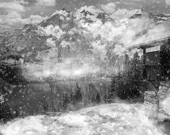 Snowy Landscape Art, Winter Mountains Canvas, Black and White, Vintage Photography