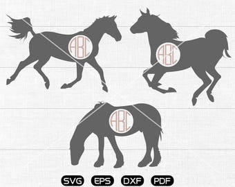 Horse Clipart , Horse Svg, Monogram Frame cricut, cameo, silhouette cut files commercial & personal use