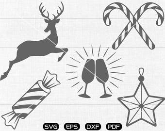 Christmas Reindeer Clipart , cup, candy, star Svg, cricut, cameo, silhouette cut files commercial & personal use