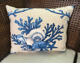 Blue & Beige Coral Design Pillow