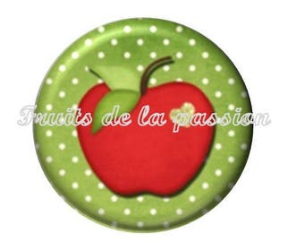 Set of 2 30mm gluttony Apple round glass cabochons