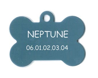 Medal dog or cat nunune engraved aluminum foil blue color