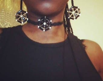 Futuristic Choker and Earrings