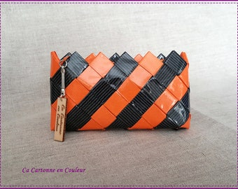 Wallet made of recycled paper, laminated, orange and gray striped