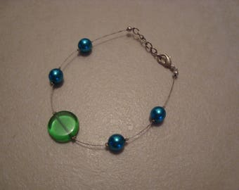 Simple fashion bracelet, blue and green