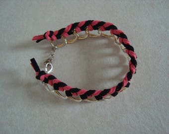 Black and red, braided chain bracelet