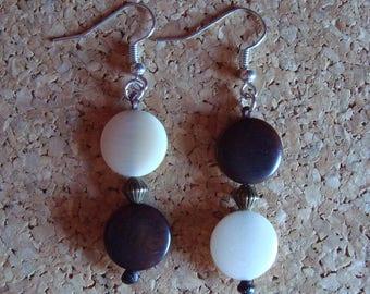 Original Tagua seed, Brown and natural earrings