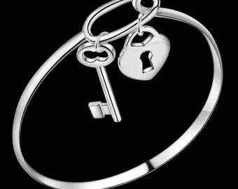 Silver Plated Key and Heart Bracelet Bangle