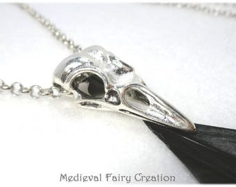 "Necklace, long ""Crow"" silver plated black crystal, iridescent black feather"