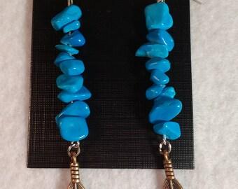 Turquoise Howlite Earrings - Turquoise Earrings