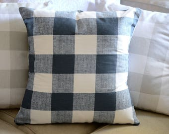 BLUE | Geomtric Pillow Cover.Decorator Pillow Cover.Home Decor.PREMIER PRINTS.Anderson Twill Gunmetal.Cushions.Cushion.Pillow.