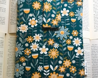 Teal Flower Power Book Love Sleeve