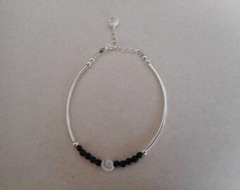 Bracelet, hematite and Sterling Silver 925