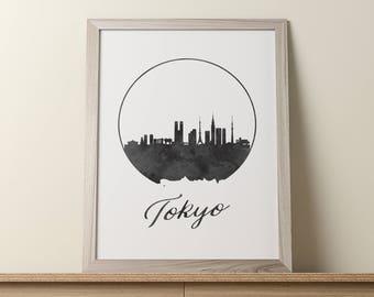 Tokyo Print, Tokyo Wall Art, Japan Art, Tokyo Skyline Cityscape, Tokyo Poster, Tokyo Wall Decor, Watercolor Art, Office Decor