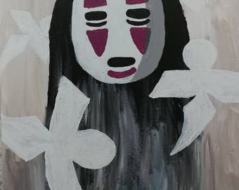 No Face Kaonashi from Spirited Away Acrylic Painting 16x20 on Canvas