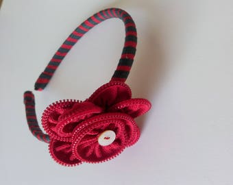 Two-tone tape coated bead wire and red flower