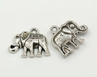 10 charms 17 mm x 13 mm silver plated elephant aged - bc269