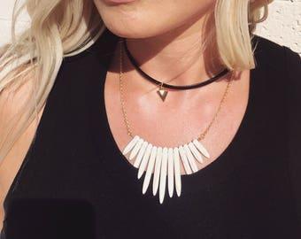 Stone Spike Necklace | Stone Necklace | Spike Necklace