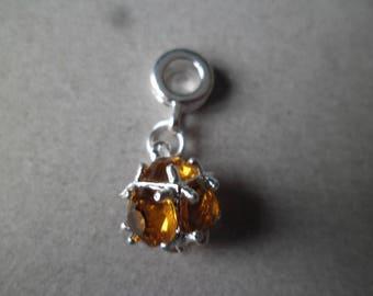 x 1 metal Orange birthstone Crystal pendant silver 26 x 10 mm