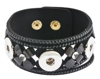 x 1 leather bracelet have black flower/Rhinestone Snap silver 22.5 cm
