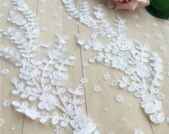 x 1 pair-applique-guipure coloured floral sewing 38 x 11 cm @B31