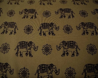 Indian elephants motifs printed viscose fabric