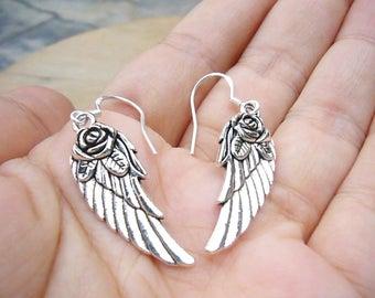 Silver Angel Wing Earrings, Angel Wing Earrings, Silver Bridal Earrings, Silver Wing, Bridesmaid Gift, Boho Earrings, Rustic Wedding Jewelry