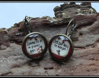 "Earrings cabochon 18 mm ""little Red Riding Hood"""