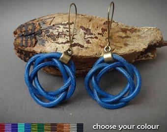 leather earrings, celtic knot earrings, blue leather earrings