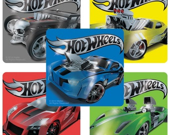 "20 Hot Wheels Cars Foil-Type Stickers, 2.5"" by 2.5"" Each"