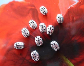 Tibetan silver ladybugs lucky 8 mm, set of 10 for jewelry, decoration, kids hobby and craft creations